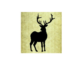 DEER BUCK Silhouette Rubber Stamp~Large Cling Stamp~Stag~Antlers~Solid~Christmas~DIY Holiday Card Making and Crafting~Unmounted (54-13)