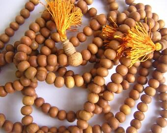 "Sandalwood Beads, 26"" Strand of 8mm Wooden Beads, 108 Natural Wood Beads, Mala"