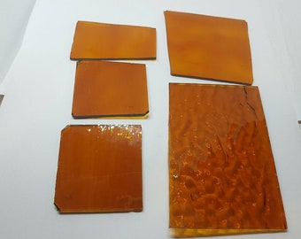 5 Pieces Orange Stained Glass