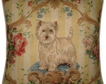 Lee Jofa Putting On the Dog Westie West Highland Terrier Linen Tapestry Cushion Pillow Cover Sham
