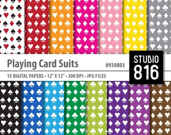 Playing Card Suits - Digital Paper for Scrapbooking, Cardmaking, Papercrafts #0930803