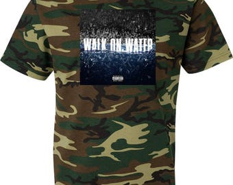 Eminem Walk On Water Camouflage T Shirt Green Woodland Camo