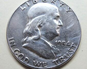 1954 Franklin Silver Half Dollar  FREE SHIPPING