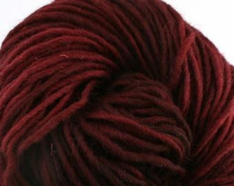 Brunswick Hand Dyed chunky weight 70/30 Corriedale wool Mohair blend yarn 140 yds 4oz Black Cherry