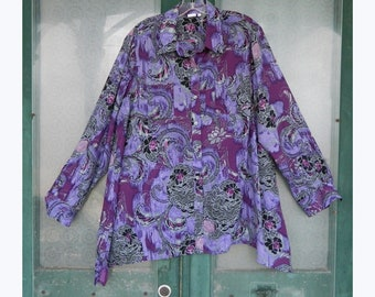 Jones NY Big Shirt -XL- Purple Vintage Floral Silky Polyester