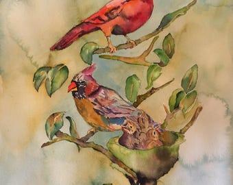 cardinals, cardinal nest, watercolor cardinals, cardinal paintings, wall art, bird paintings, bird art, gifts for her, original watercolor