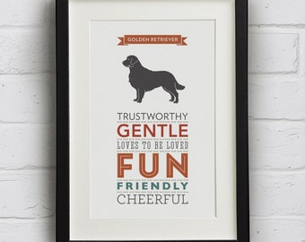 Golden Retriever Dog Breed Traits Print - Great gift for dog lovers!