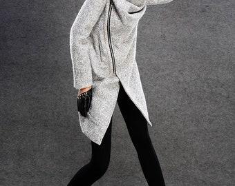 Wool Coat, winter coat, winter coat women, gray coat, womens coat, Asymmetrical coat, woman coat, wool coat women, Cowl Neck coat C134