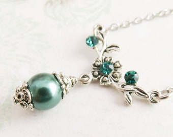 Teal bridesmaid necklace, teal pearl necklace, wedding jewelry, neo victorian necklace, bridesmaid gift, bridal jewelry