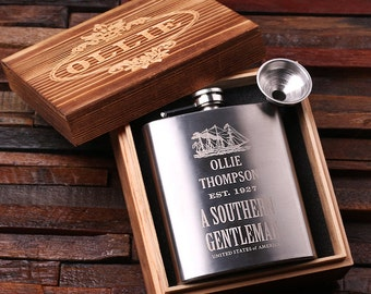 Set of 7 Personalized 7 oz Stainless Steel Metal Whiskey Scotch Flask Unique Men Christmas, Groomsmen, Man Cave, 21st Birthday Gift