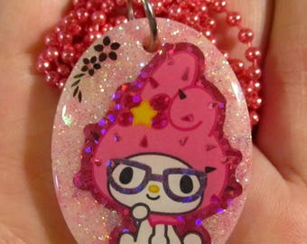 Kawaii Bunny Wearing Glasses Necklace-Geek Rabbit Necklace-Sparkly Resin Jewelry Pendant