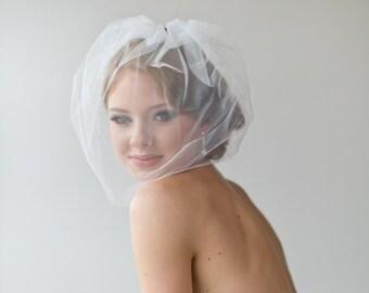 """Birdcage Veil, Wedding Veil, Illusion Birdcage Veil,  Bridal Veil with Rhinestones, Short Veil, 18"""" Visor Veil"""