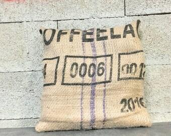 Burlap pillow. Congo coffee