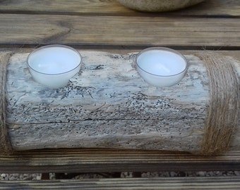 Unique Driftwood candle holder. Hand made.