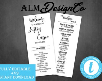 Wedding Program - Digital Wedding Program - Templett Edit - Instant Download