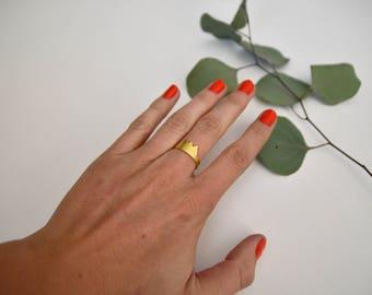 Golden Crown Adjustable ring