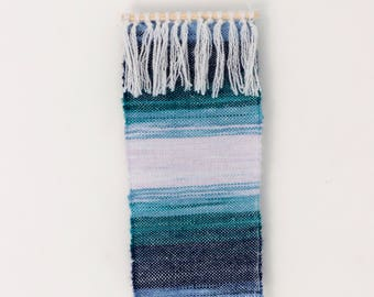 Sea Spray Ombre Woven Wall Hanging, Textile Wall Art, Handmade Wall Decor, Small Wall Tapestry, Weave