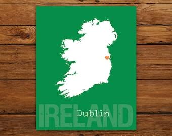 Custom Ireland St. Patrick's Day, Personalized Country Print, Country Love, Country Map, Country, Heart, Silhouette, 8 x 10 Wall Art Print