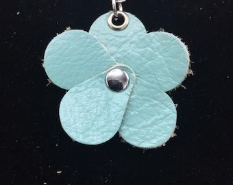 Mint Green Planner Flower - Leather Jot Clip-on Planner Charm