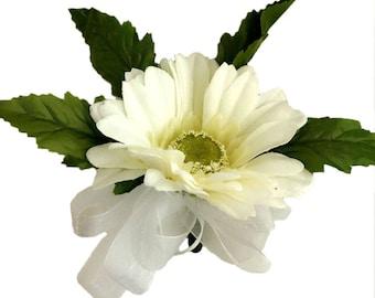 Ivory Silk Daisy Corsage - Wedding Corsage Prom