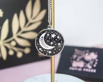 Enamel Moon Necklace, Silver Night Stars Pendant