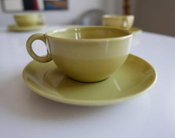 Russel Wright Iroquois Casual Tea Cup and Saucer in Avocado Green Chartreuse mid century modern