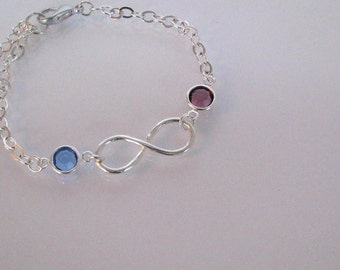 Birthstone Bracelet-Sterling Silver Infinity Birthstone Bracelet-Mothers Birthstone Bracelet-Mother Infinity Bracelet-Custom Bracelet