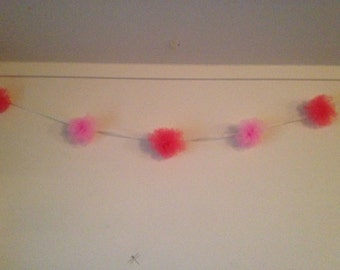 Bridal Shower Tulle Garland-Pink and Coral Tulle Bridal Shower Pom Pom Garland