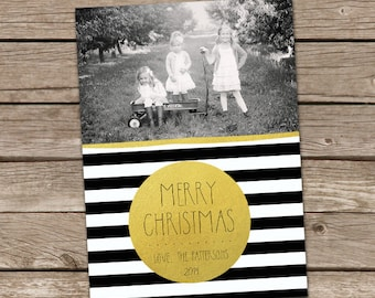 Photo Christmas Card : Gold Dot Black & White Stripes Merry Christmas Custom Photo Holiday Card Printable
