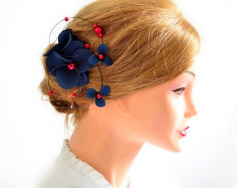 Floral headpiece Navy and red headpiece Bridal hair clip Wedding fascinator Wedding hair accessories Hair pin