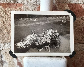 A Few Flowers- A Vintage Cemetery Photograph