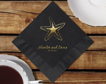 Personalized Black Napkins Wedding, Starfish, Black Cocktail Napkins, Personalized Black Beverage Napkins, Color Options Available
