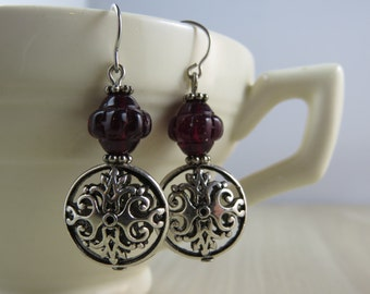 Blood red Czech glass beads on Victorian style beads Dangle earrings, Beaded earrings