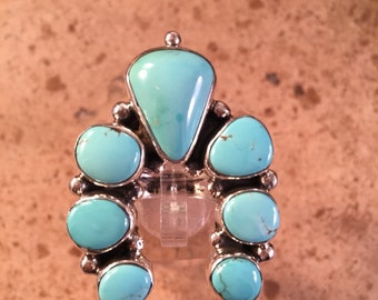 Navajo Turquoise & Sterling Silver Naja Cluster Ring Sz 9 Signed