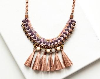 Tassel Necklace, Fringe Necklace, Crochet Necklace, Fabric Necklace, Boho Necklace, Bib Necklace, Rustic Wedding Jewelry, Statement Necklace