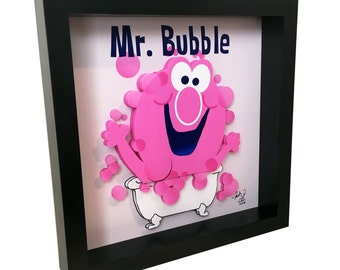 Mr. Bubble Bathroom Art 3D Pop Artwork Pink Bath Decor Bathroom Print