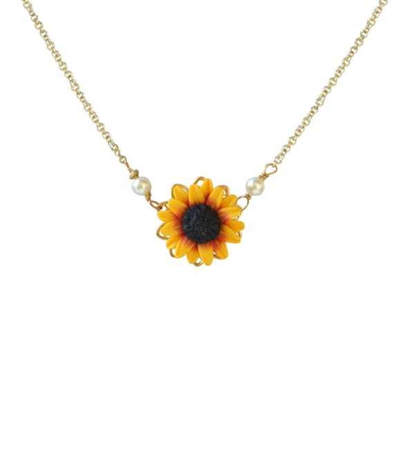 Sunflower Pendant Necklace. Red Yellow Sunflower Simple Drop