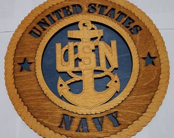Navy USN Wall Plaque Wooden Model