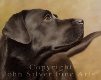 Aceo Dog Print, Black Labrador Retriever. From an Original Painting by JOHN SILVER. Personally signed. BL002AC