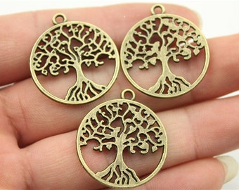 4 Tree of Life Charms, 2 Sided, Antique Bronze Tone (1L-19)