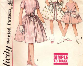 1960s Simplicity 4366 Vintage Sewing Pattern Girl's Party Dress, Full Skirt Dress, One Piece Dress Size 2, Size 4, Size 6