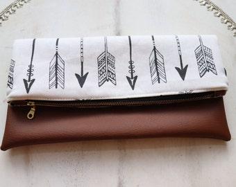 Arrow Vegan Leather Fold Over Clutch, Zipper Pouch