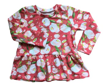 Coral floral peplum top - Baby girl peplum - Toddler girl peplum - Baby girl outfit- Toddler girl outfit - Fall girl clothes - Fall outfit