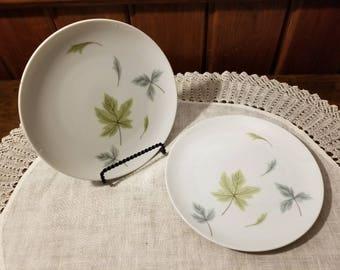 Vintage, Mikasa, Elite, Windfall, 2 Salad Plates, Olive and Baby Blue Leaves