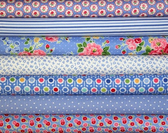 fat quarter bundle--7 pieces (1-3/4 yards total) from the Pam Kitty Morning Collection, Lakehouse Dry Goods