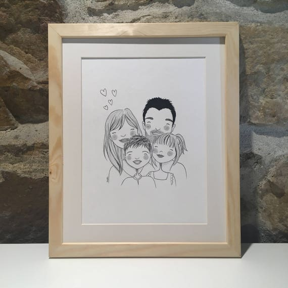 [ VOTRE PORTRAIT PERSONNALISÉ ]  • NOTEZ : les portraits commandés dès maintenant seront livrés après Noël •  Idée cadeau originale, je réalise le portrait de votre couple ou famille au crayon et à lencre sur papier 300g/m2, dans un style contemporain, en noir et blanc. Idéal pour les