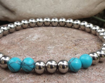 FREE SHIPPING-Bracelet For Men  Beaded Bracelet, Stainless Steel  Beads Bracelet, Stone Beads Bracelet, Stretch Bracelet,Turquoise Bracelet