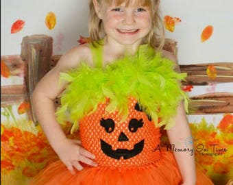 Baby Toddler Girl's Halloween Jack o'Lantern Pumpkin Pageant tutu dress costume orange green black