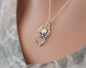 Sterling Silver Realistic Spider Pendant Necklace, Spider Pendant Necklace, Spider Necklace, Silver Spider Necklace, 3D Spider Necklace