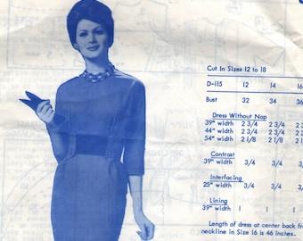 Vintage 1950s Modes Royale Sewing Pattern D-115 - Misses' Wiggle Dress size 12 bust 32